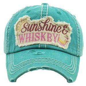 Sunshine & Whiskey Turquoise Distressed Hat